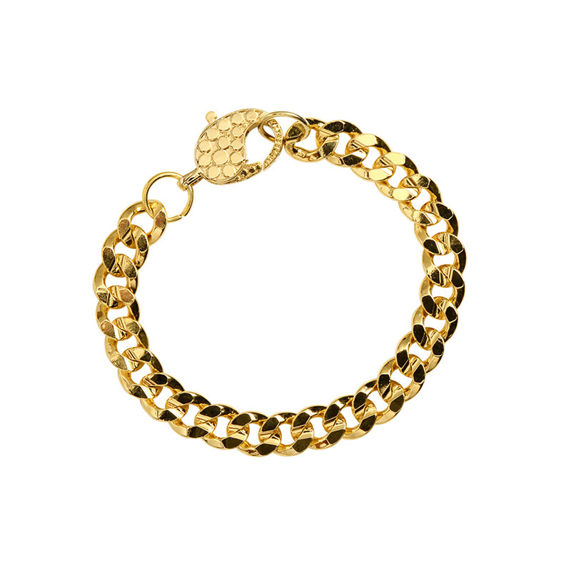Classic Gold Plated Curb Link Chain Bracelet with Fancy Dotted Clasp 10mm