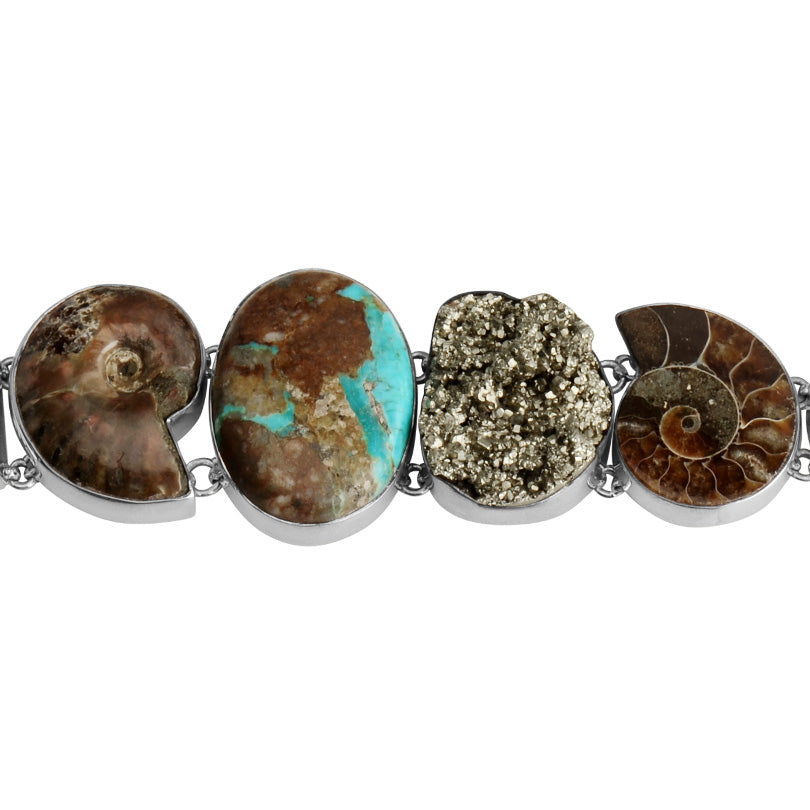 Stunning Boulder Turquoise, Firey Ammonite, Pyrite, Smoky and Green Amethyst Sterling Silver Statement Bracelet