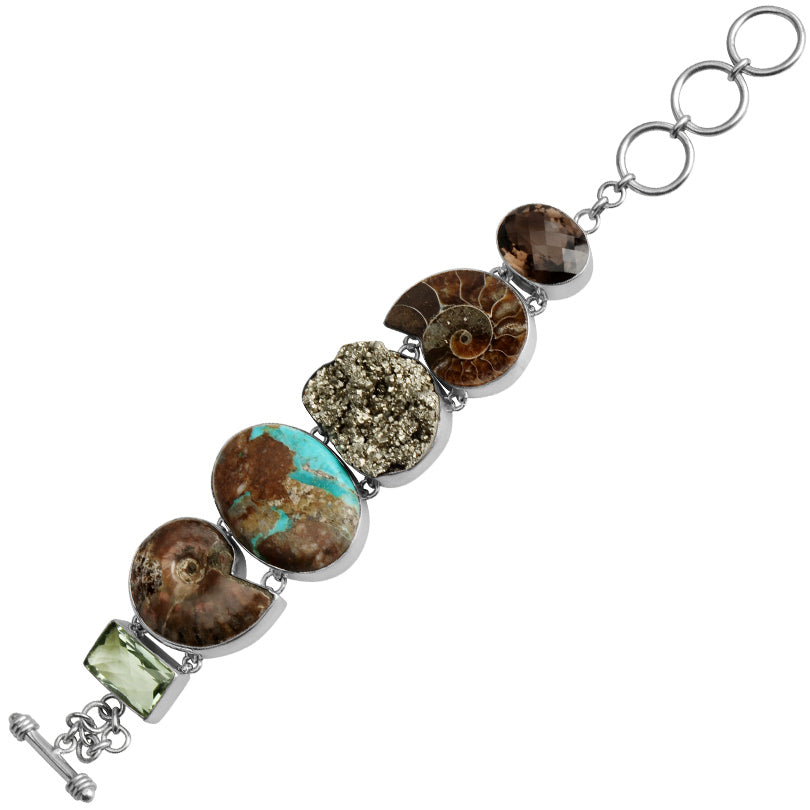 Gorgeous Boulder Turquoise, Firey Ammolite, Pyrite, Smoky and Green Amethyst Sterling Silver Statement Bracelet