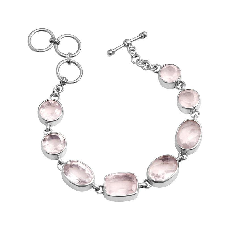 Starborn Gorgeous Faceted Rose Quartz Balinese Sterling Silver Statement Bracelet