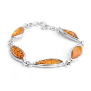 Gorgeous Cognac Baltic Amber Sterling Silver Bracelet