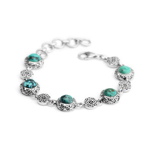 Pretty Turquoise with Unique Filagree Accent Sterling Silver Bracelet
