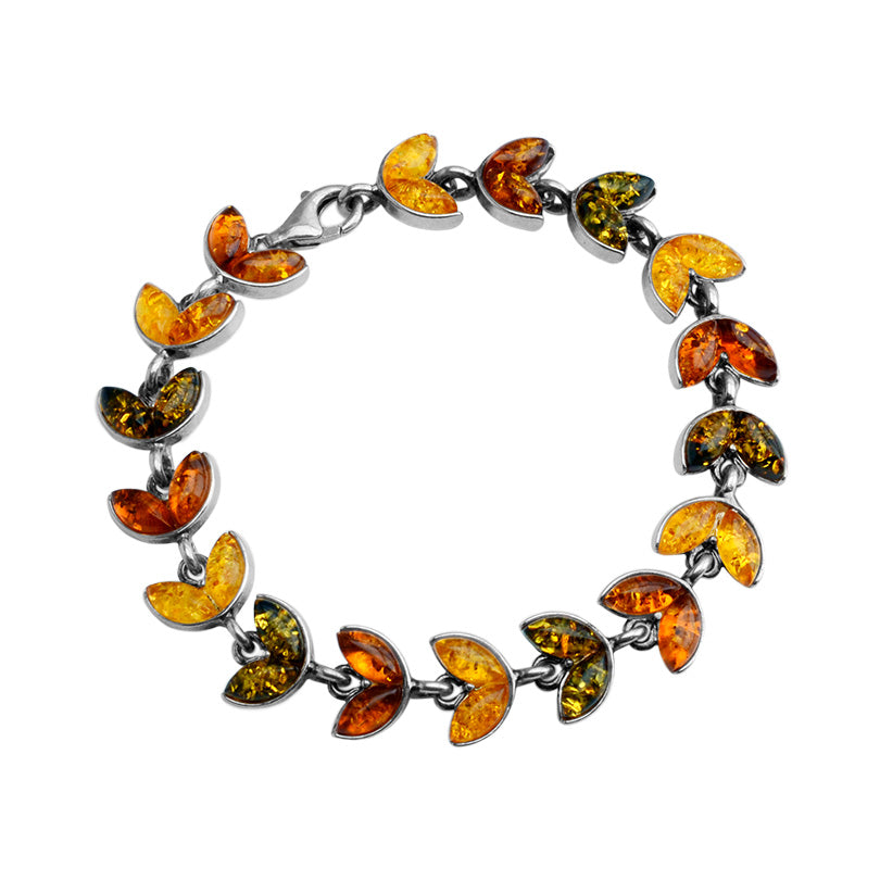 Beautiful Baltic Mixed Colors of Amber Sterling Silver Bracelet