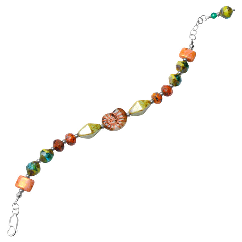 Beautiful Mixed Color Stones Sterling Silver Bracelet