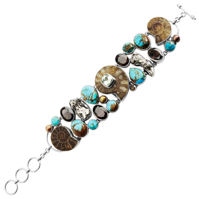 Gorgeous Ammonite, Smoky Quartz and Turquoise Sterling Silver Statement Bracelet