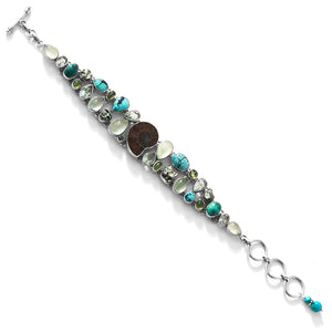Distinctive Turquoise Ammonite Mixed Gemstone Sterling Silver Statement Bracelet