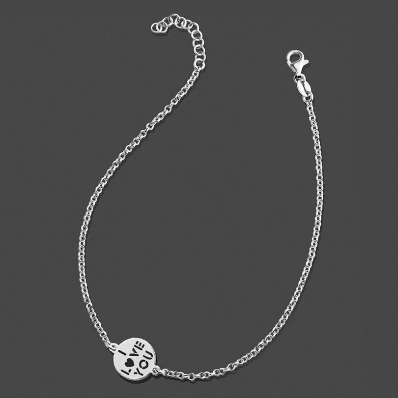 'I Love You' Italian Rhodium Plated Sterling Silver Anklet