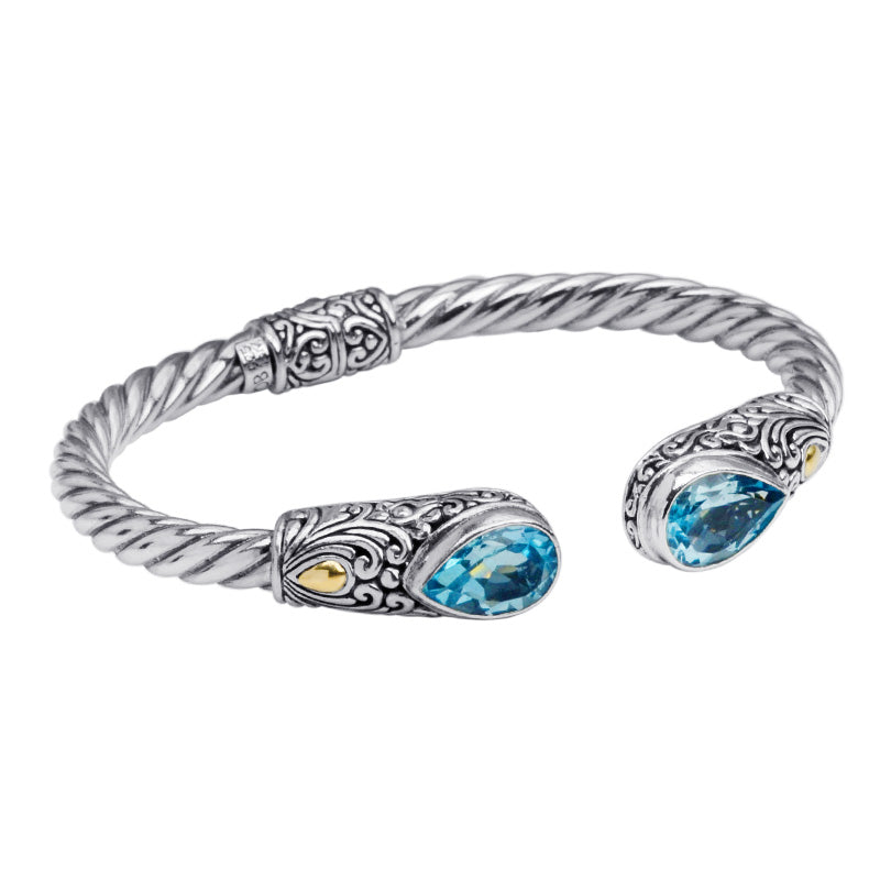 Balinese Blue Topaz with 18kt Accent Sterling Silver Hinged Statement Cuff