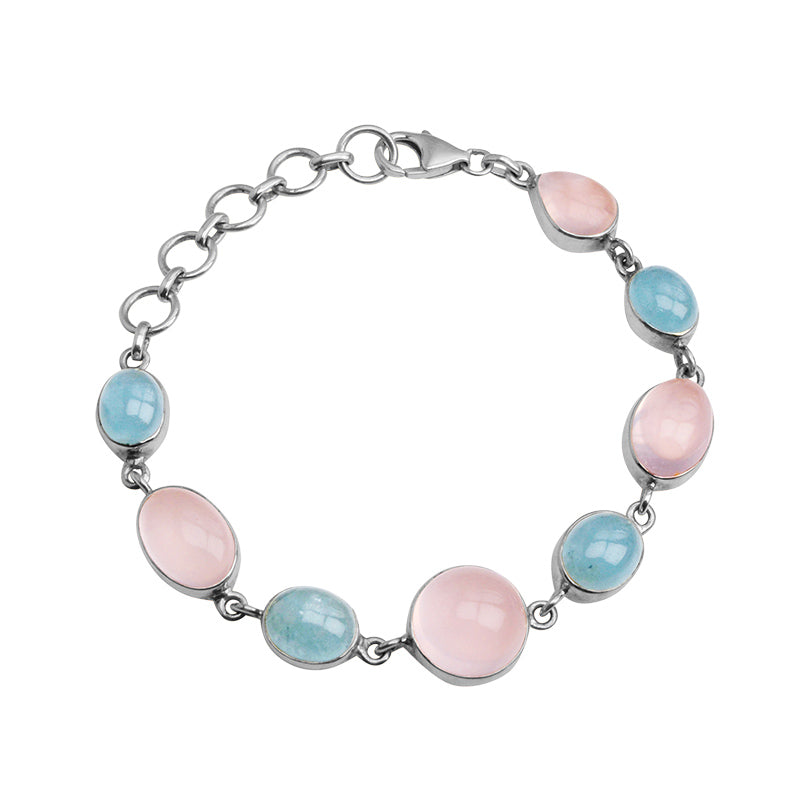 Beautiful Rose Quartz and Aquamarine Sterling Silver Statement Bracelet