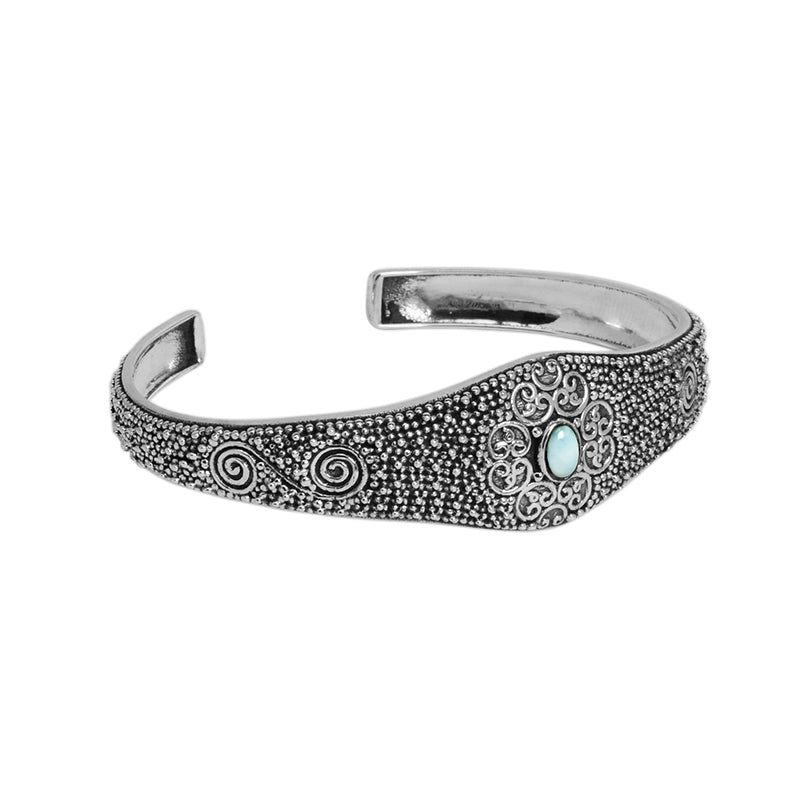 Beautiful Intricate Silver-Work Larimar Balinese Sterling Silver Cuff