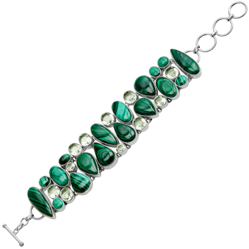 Vibrant Malachite and Green Amethyst Sterling Silver Statement Bracelet