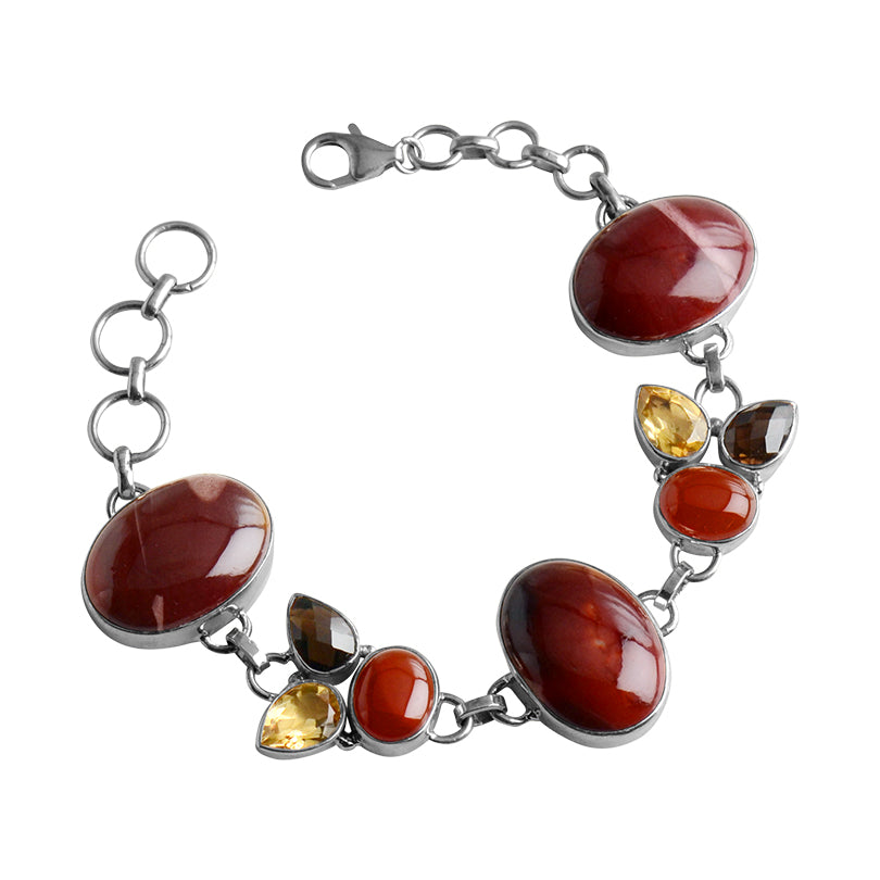 Deep Red Moukaite, Smoky Quartz and Citrine Sterling Silver Bracelet