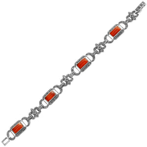 Carnelian and Marcasite Regal Rectangle Sterling Silver Bracelet