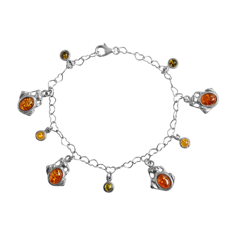 Very Cute Baltic Amber Sterling Silver Bracelet