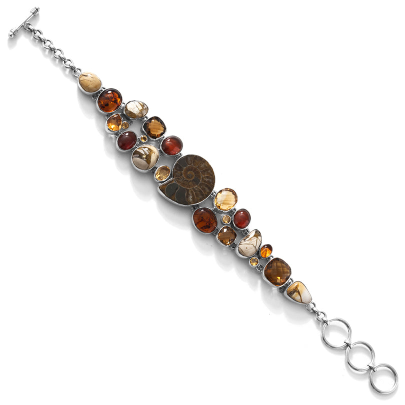 Gorgeous Ammonite, Citrine, & Moukaite Cobblestone Statement Bracelet