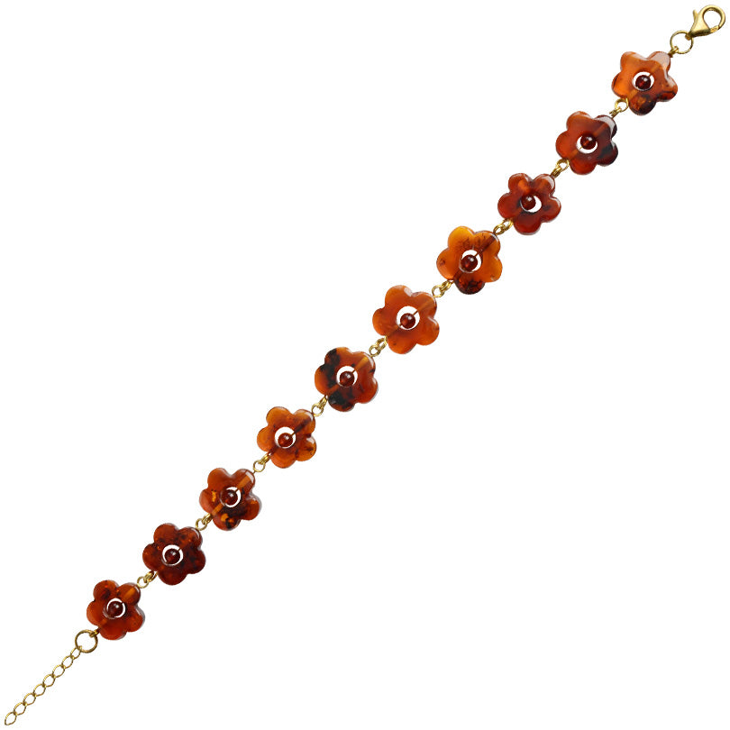 Darling Carved Cognac Baltic Amber Gold Filled Flower Bracelet