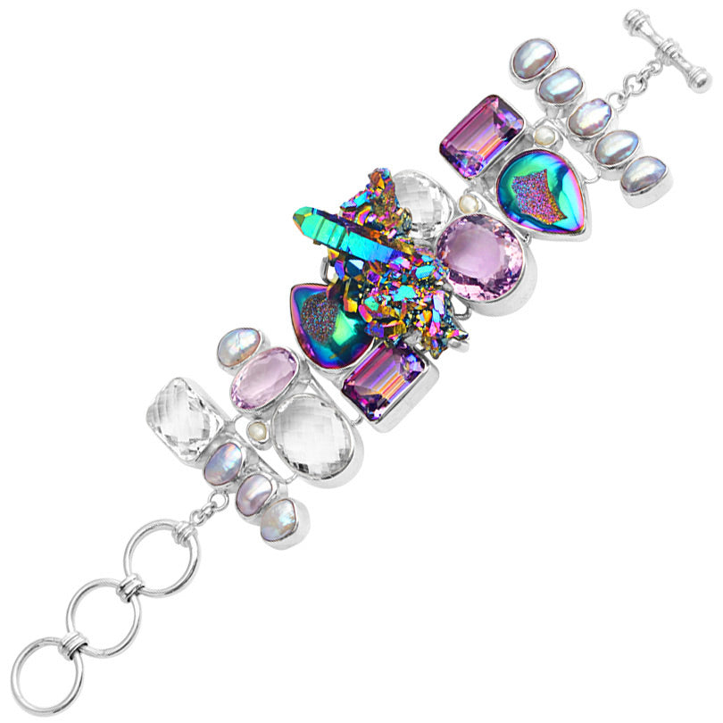 Starborn Magnificent Titanium Drusy and Faceted Amethyst Sterling Silver Statement Bracelet