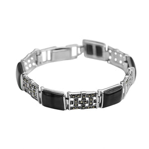 Sophisticated Black Onyx and Marcasite Platinum Plated Bracelet