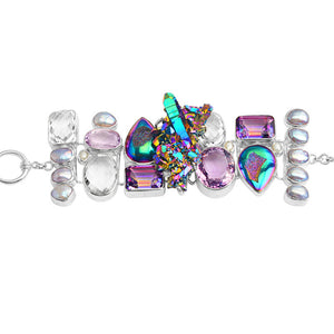 Starborn Titanium Quartz Crystal Druzy and Amethyst Sterling Silver Statement Bracelet