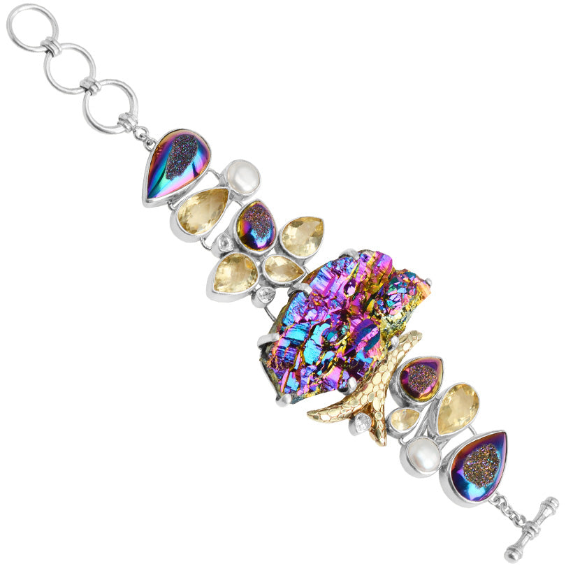 Wow! Starborn Sparkling Titanium Drusy With Citrine & Pearls & Gold Sheeting Sterling Silver Statement Bracelet