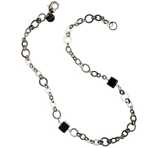 Contemporary Black Onyx Cubes on Black  Plated Chain Necklace