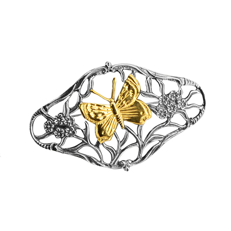 Designer GL Netherland Rhodium Plated Sterling Silver with 18kt Gold Butterfly Brooch