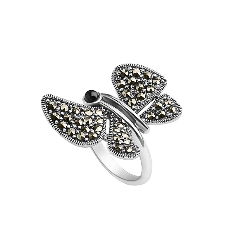 Sterling Silver Marcasite Black Onyx Butterfly Ring