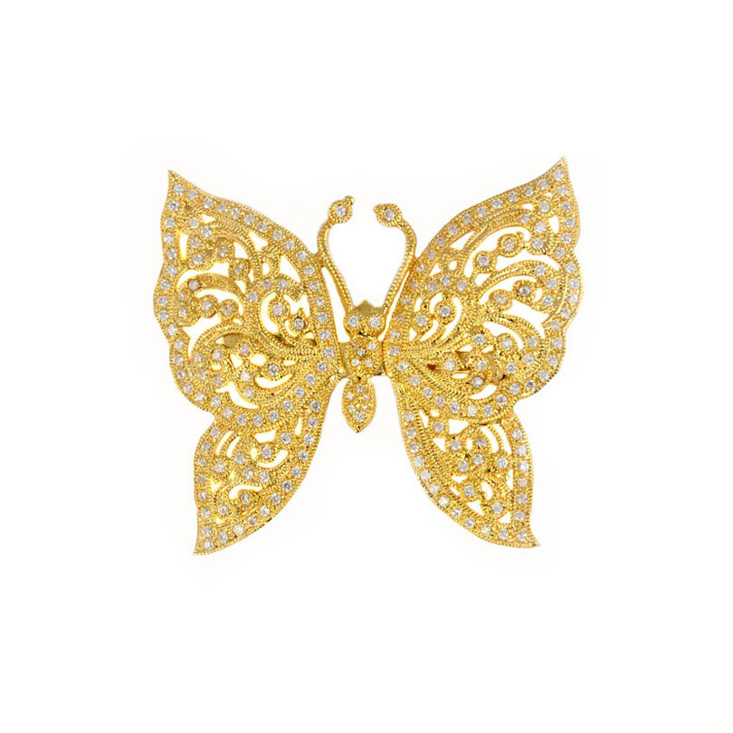 Glamorous Sparkling CZ 14kt Gold Plated Butterfly Brooch