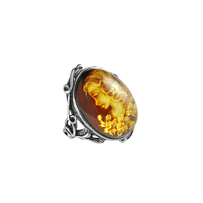 Vintage Design Hand Carved Cameo Cognac Baltic Amber Sterling Silver Ring