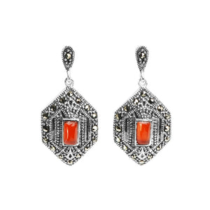 Art Deco Design Sterling Silver Marcasite Carnelian Earrings