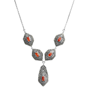 Stylish Art Deco Marcasite Sterling Silver Necklace