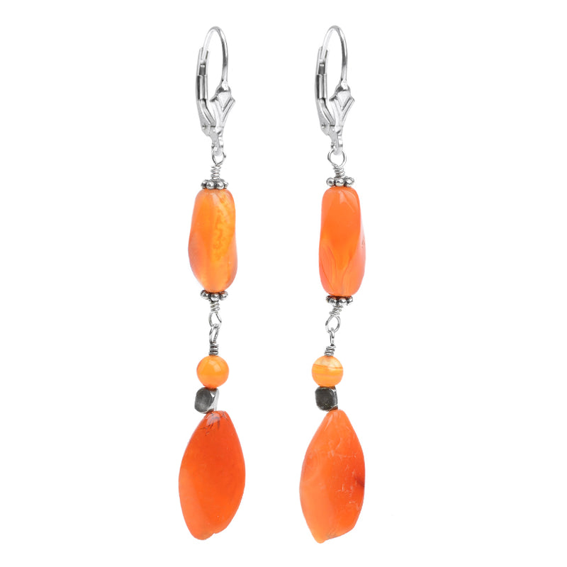 Unique Eclectic Design Carnelian Earrings with Sterling Silver Hooks