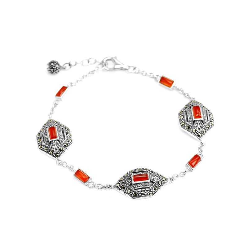 Art Deco Design Sterling Silver Marcasite Bracelet in Carnelian, Black Onyx or Green Agate