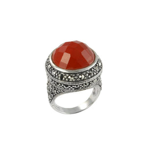 Red Jasper Marcasite Sterling Silver Ring