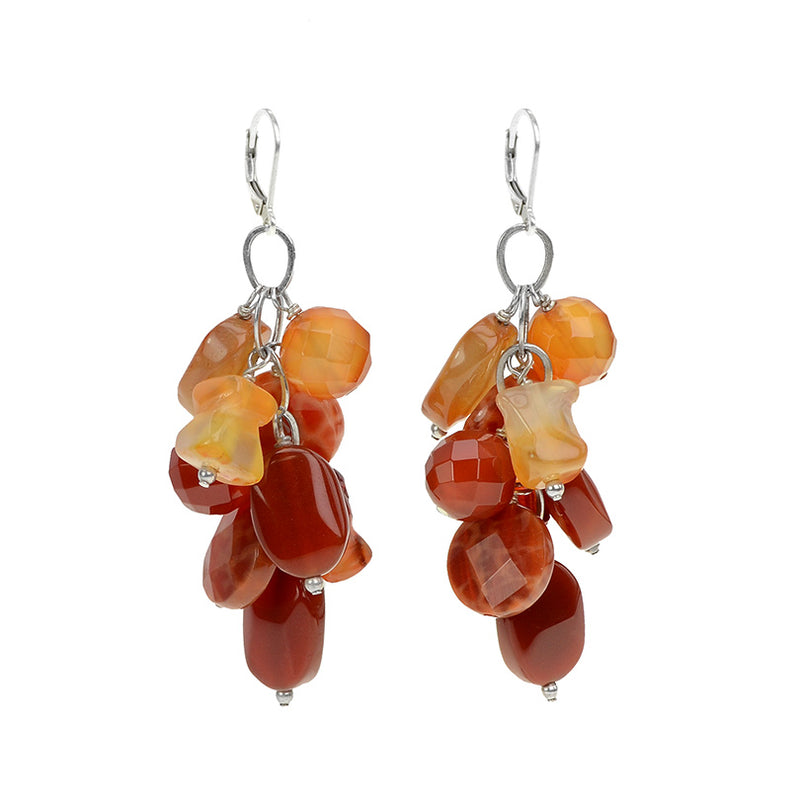 Captivating Fire Agate & Carnelian Earrings on Sterling Silver Lever Backs