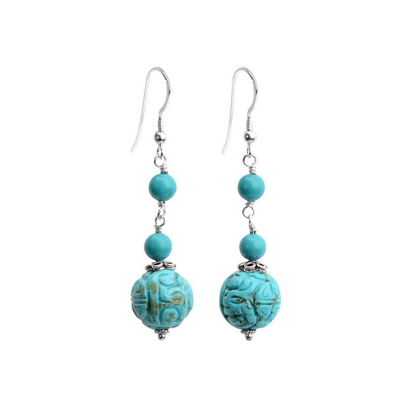 Lovely Carved Chalk Turquoise (dyed) Earrings on Sterling Silver Hooks