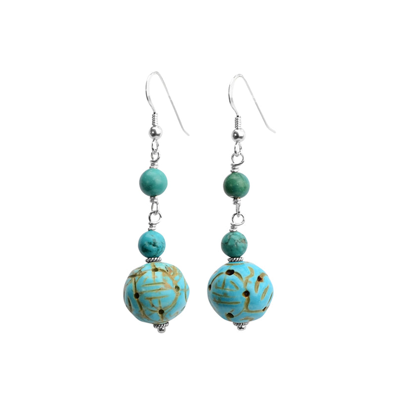 Charming Carved Chalk Turquoise Earrings on Sterling Silver Hooks