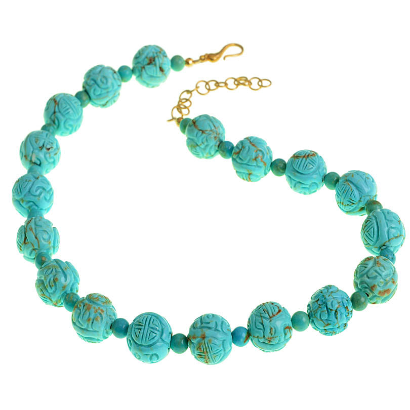 Beautiful Vibrant Blue Carved Chalk Turquoise Gold Plated Clasp Necklace