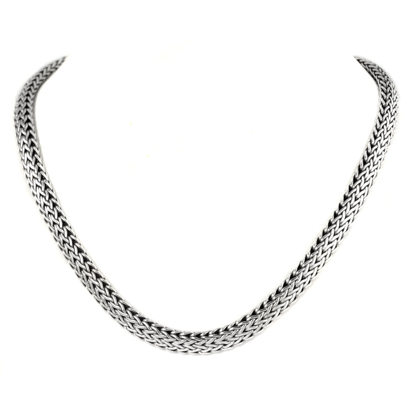 Sterling Silver 7mm Bali Weave Chain with Barrel Clasp