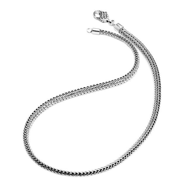 Sterling Silver Bali Weave Chain with Designed Lobster Clasp 6mm 20""
