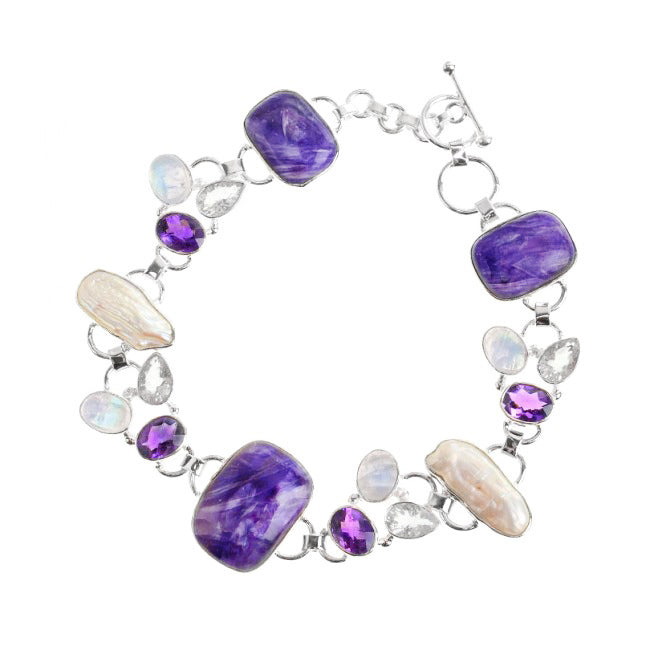 Gorgeous Purple Charoite Amethyst Moonstone Pearl and Faceted Quartz Bracelet