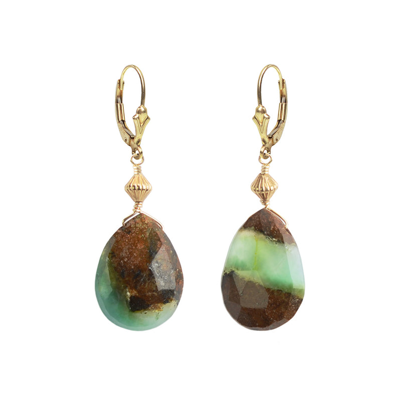 Gorgeous Green and Brown Natural Chrysoprase Gold Fill Earrings
