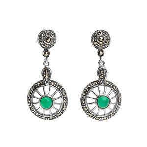 Sphere Sterling Silver Green Agate and Marcasite Earrings