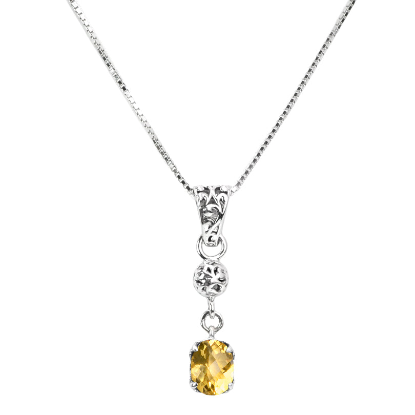 Gorgeous Delicate Citrine Sterling Silver Necklace