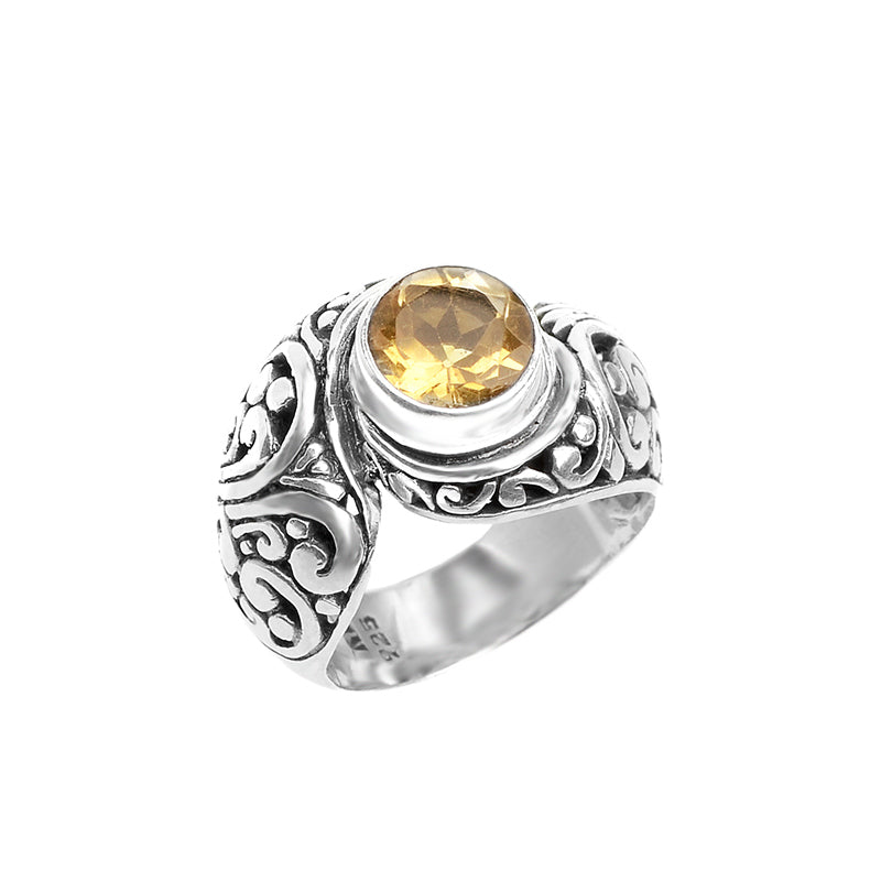 Unique Bali Design Sterling Silver Citrine Ring