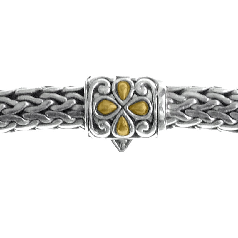 Sterling Silver 7mm Bali Weave Chain with 18kt Gold Accent Barrel Clasp