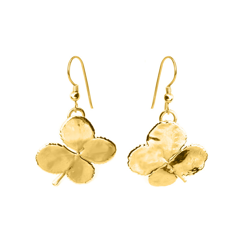Gorgeous 24kt Gold Saturated Real Clover Earrings