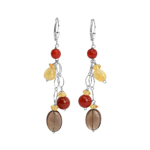 Charming Citrine, Carnelian and Smoky Quartz Sterling Silver Earrings