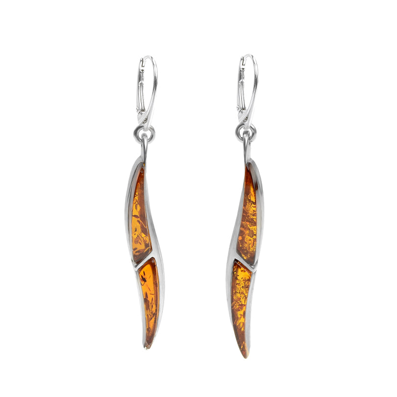 Sleek Design Cognac Baltic Amber Earrings
