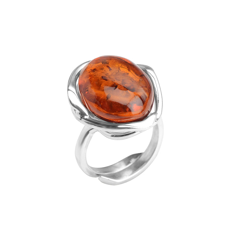 Rich Cognac Baltic Amber Ring